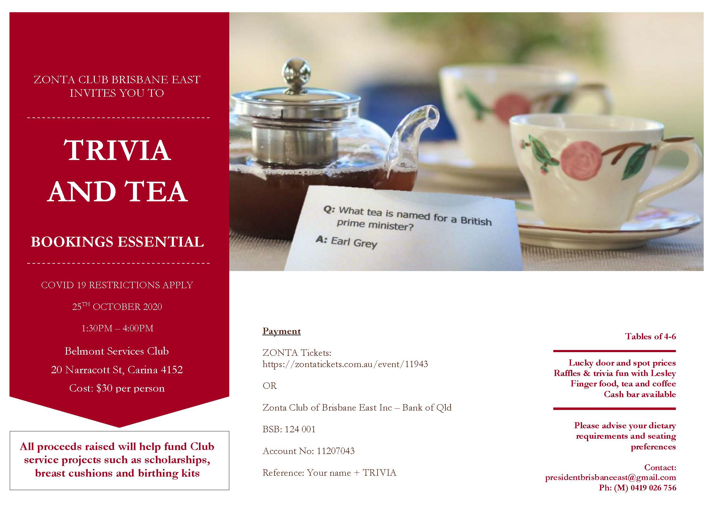 Trivia and Tea - Brisbane @ Belmont Services Club